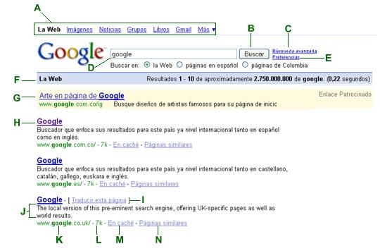 A. Tipo de búsqueda. Haga clic en el vínculo o enlace del servicio de