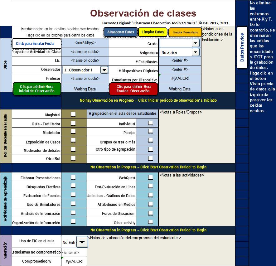 Eduteka - Observador de clases de ISTE (ICOT)